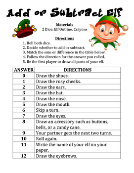 Add or Subtract Elf - A Strategic Christmas Math Activity to Add or Subtract