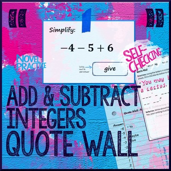 Add or Subtract Integers (Not a Scavenger Hunt) Quote Wall