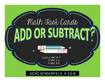 Add or Subtract? Math Story Problem Task Cards