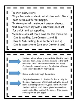 Add or Subtract Money--activities, centers, and worksheets without regrouping