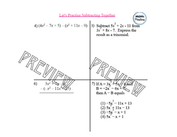 Add or Subtract Polynomials Lesson 1 of 2