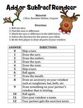 Add or Subtract Reindeer - A Strategic Christmas Math Game to Add or Subtract