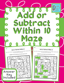 Add or Subtract Within 10 Maze