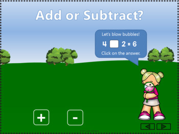 Add or Subtract to 10 Interactive Math Game {bubbles}