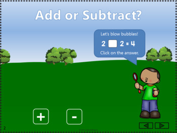 Add or Subtract to 5 Interactive Math Game {bubbles}