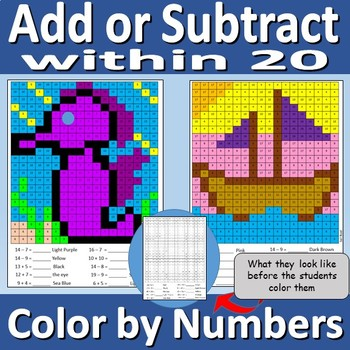 Add or Subtract within 20 - Color by Numbers Worksheets