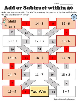 Add or Subtract within 20 - Maze Worksheets