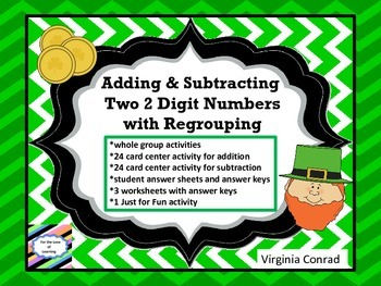 Add or subtract 2 Digit Numbers--center, activity, workshe
