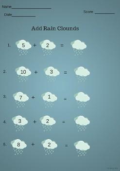Add rain clouds Math- Kindergarten