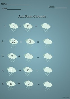Add rain clouds Math- Kindergarten