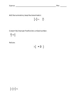 Add similar fractions with regrouping worksheet