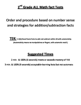 Math Facts: Timed Tests Add/sub  0-20  based on number sense