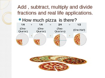 Add, subtract, multiply, divide fractions and real world applications