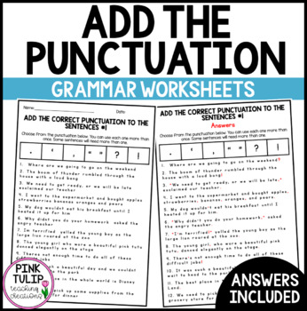 Add the punctuation to the sentences - 10 worksheets with answers