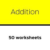 Add three 1-digit numbers (50 worksheets)