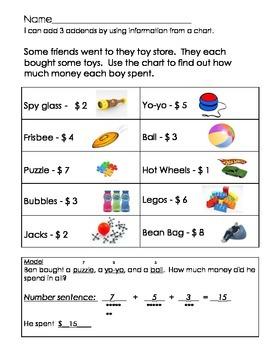 Add three addends using a chart