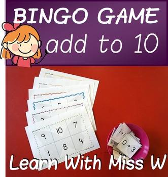 Math game: add to 10 bingo