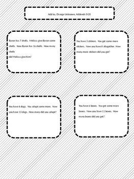 Math Word Problems - Add to (Change Unknown)