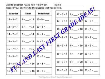 Add to Subtract Puzzle Fun! (Common Core Aligned)