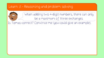 Add two 4-d numbers-more than 1 exchange lesson (Year 4 Addition & Subtraction)