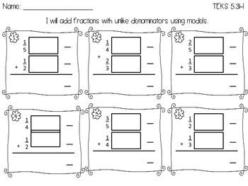 Add unlike fractions TEKS 5.3H FREEBIE!