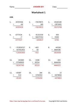 Add up to 10 digits to up to 10 digits with a negative (50 worksheets)