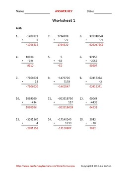 Add up to 10 digits to up to 5 digits with a negative (50 worksheets)