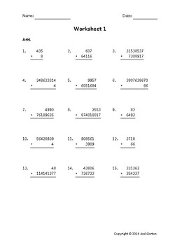 Add up to 10 digits to up to 9 digits (50 worksheets)