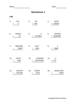 Add up to 10 digits to up to 9 digits with mixed negatives (50 worksheets)