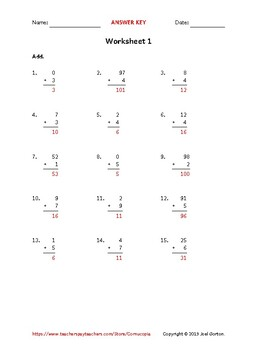 Add up to 2 digits to 1 digit (50 worksheets)