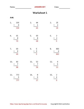 Add up to 3 digits to 1 digit (50 worksheets)