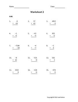 Add up to 4 digits to up to 2 digits with mixed negatives (50 worksheets)