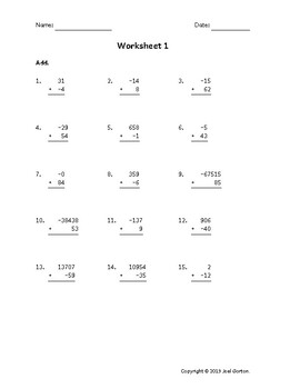 Add up to 5 digits to up to 2 digits with a negative (50 worksheets)
