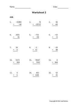 Add up to 5 digits to up to 5 digits with mixed negatives (50 worksheets)