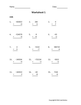 Add up to 6 digits to 1 digit with mixed negatives (50 worksheets)
