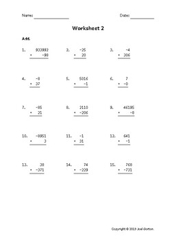 Add up to 6 digits to up to 3 digits with a negative (50 worksheets)