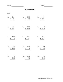 Add up to 6 digits to up to 4 digits (50 worksheets)