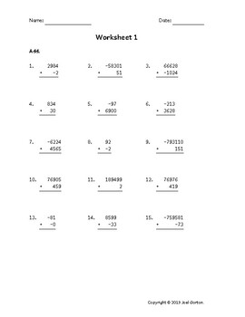Add up to 6 digits to up to 4 digits with mixed negatives (50 worksheets)