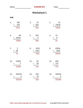 Add up to 6 digits to up to 5 digits (50 worksheets)