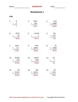Add up to 6 digits to up to 5 digits with a negative (50 worksheets)