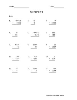 Add up to 6 digits to up to 5 digits with mixed negatives (50 worksheets)