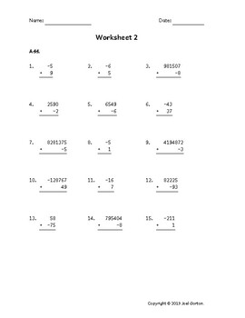 Add up to 7 digits to up to 2 digits with a negative (50 worksheets)