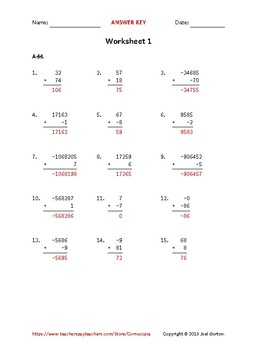 Add up to 7 digits to up to 2 digits with mixed negatives (50 worksheets)