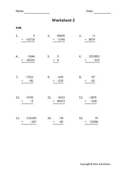 Add up to 7 digits to up to 5 digits with mixed negatives (50 worksheets)
