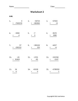 Add up to 7 digits to up to 7 digits with mixed negatives (50 worksheets)