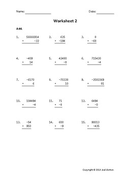 Add up to 8 digits to up to 3 digits with a negative (50 worksheets)