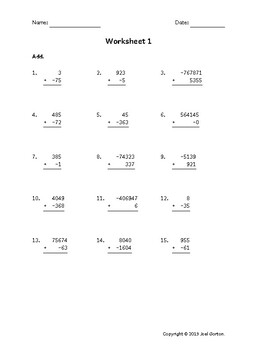 Add up to 8 digits to up to 4 digits with a negative (50 worksheets)