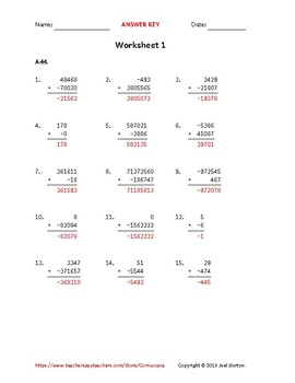 Add up to 8 digits to up to 8 digits with a negative (50 worksheets)