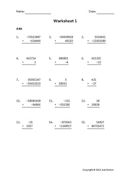 Add up to 8 digits to up to 8 digits with mixed negatives (50 worksheets)