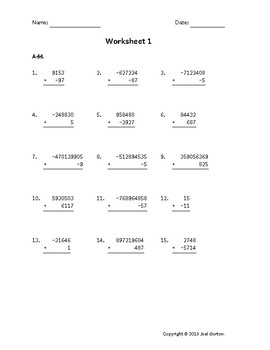 Add up to 9 digits to up to 4 digits with mixed negatives (50 worksheets)